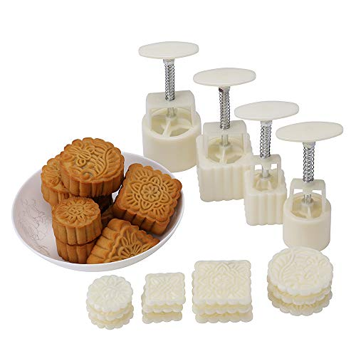 Lost Ocean Mid-Autumn Festival Hand-Pressure Moon Cake Mould with 12 Pcs Mode Pattern for 4 Sets (Mooncake Press Mold)