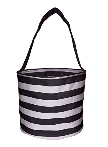 Personalized Fabric Bucket Tote Bag for Children - Toys - Easter Basket (Black & White Stripe)
