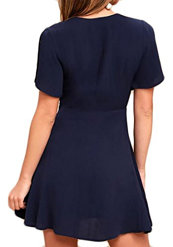 Blue Solid Navy V Waist Dresses Neck Deep Cozy High Cromoncent Women Color Hot Sexy Solid Pleated ZTRnSX