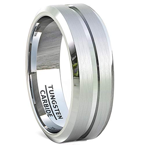 Duke Collections Mens Wedding Bands Classic 8mm Tungsten Ring Brushed with Center Groove and Beveled Edges (9)