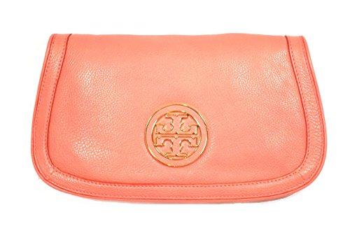 TORY BURCH Amanda Logo Clutch Chain Bag Purse Strawberry Pink Coral Leather