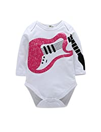 Newborn Baby Girls Funny Guitar Pattern Bodysuits Infant Rompers Outfits