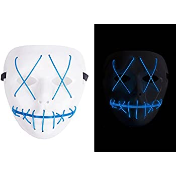Amazon.com: Scary Mask Halloween Light Up Mask EL Wire V for ...
