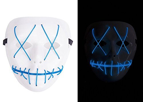 NIGHT-GRING Frightening EL Wire Halloween Cosplay Led Mask Light Up Mask for Festival Parties blue - 1pc