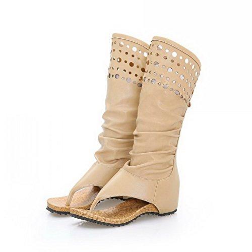 AmoonyFashion Womens Zipper Low Heels Pu Solid Split Toe Sandals Beige PRNFKQUcv