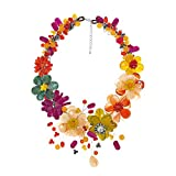 AeraVida Vibrant Bouquet of Multi Color Natural Stones and Cultured Freshwater Pearls Floral Statement Necklace