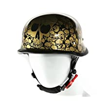 Skull Graveyard Gold Graphics German Novelty Helmet Size Medium