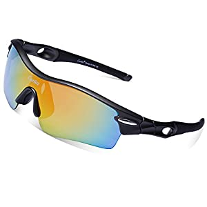 Cycling Sunglasses-Carfia TR90 Sports Sunglasses UV400 Protection Goggles Polarized Sunglasses with 5 Interchangeable Lenses for Ski Running Cycling Fishing Golf