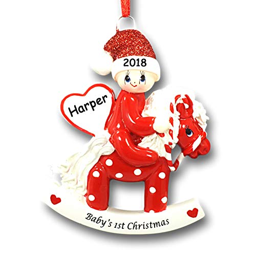Rudolph and Me Baby on Polka Dot Rocking Horse with Glittered Santa Hat Christmas Tree Ornament (Red)