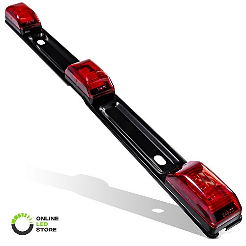 15' Red 9-LED Trailer Light Bar with Black Stainless Steel Bracket [DOT Certified] [IP67 Submersible] Clearance ID Marker Tail Light for 80' or Wider Trailers