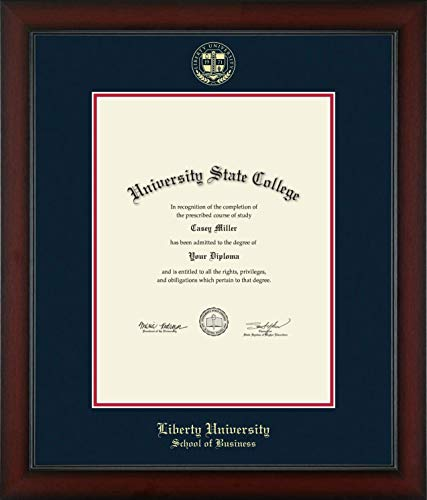 Liberty University School of Business - Officially Licensed - Gold Embossed Diploma Frame - Diploma Size 13