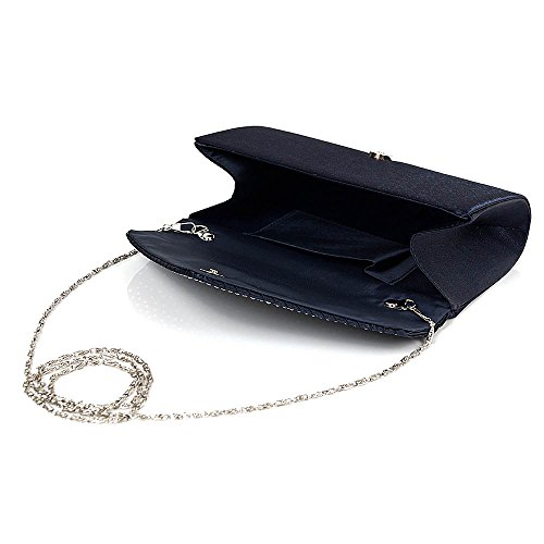 Clutch Colours Fashion 11 Shoulder Diamonte Envelope Bag Womens Navy Purse 5FY7xqwg