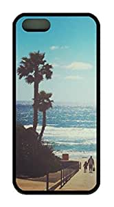 California Beach Palm Tree Theme Case for IPhone 4 4S Rubber Material Black