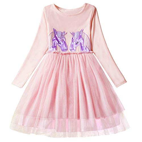 Toddler Girls Princess Tulle Dress Unicorn Cotton Long Sleeve Causal Colorful Lace Dresses ()