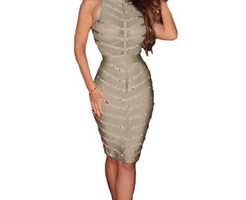 YFFaye Women's Light Grey Studded Bandage Dress (Brazil Fancy Dress Ideas)
