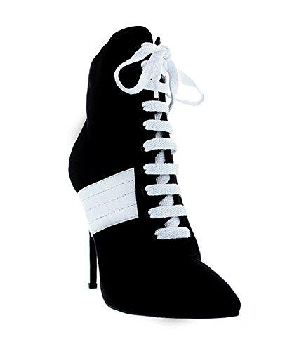 Liliana Women Bootie - Liliana Pointy Toe Ankle High Lace Up Booty/w Stilleto Heel Sneaker Bootie Lexa1 (black 6)