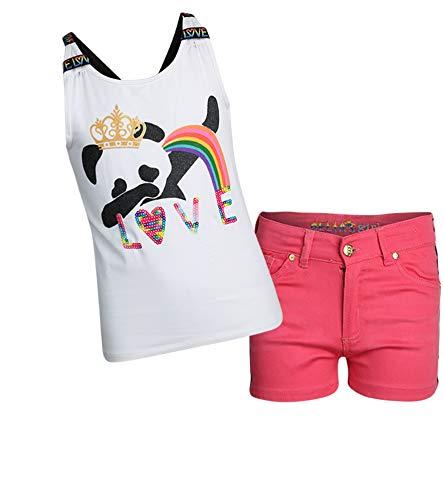 dELiA*s Girls' 2-Piece Denim Short Set with Prints and Sequins Shirts, White Panda, Size 4'