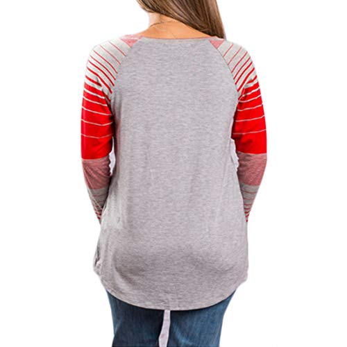 da a Top a Maniche Girocollo Righe Top Lunghe Lunghe Shirt Donna T Impunture Yefree a Grigio Maniche 0YEwxUq