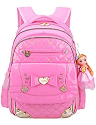 Linsmart PU Kids Cute Backpack Elementary School Bag for Girls