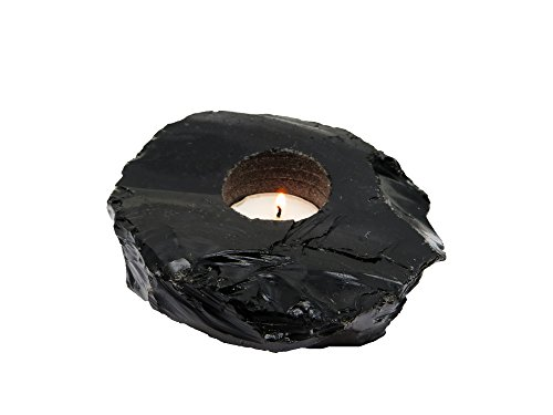 1 (One) Black Obsidian Candle Holder Rock Paradise Exclusive With Certificate of Authenticity AM7B8 - Exclusive Candle
