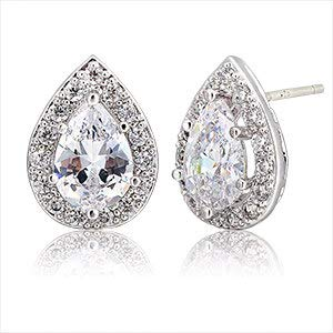 Zircon Pear White - White Gold Color Pear Teardrop Blue/Red Crystal W/Cz Zircon Accent Stud Earrings for Women Luxury Jewelry Brinco Bijoux Aros