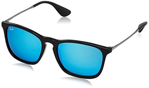 Ray-Ban RB4187 Chris Square Sunglasses, Black/Blue Mirror, 54 mm