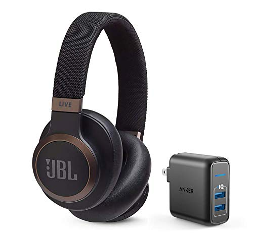 JBL Live 650 BT NC Over-Ear Noise Canceling Wireless Bluetooth Headphone Bundle with Anker PowerPort Elite 2 Ports USB Wall Charger – Black