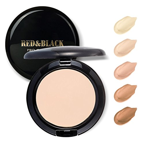Full Coverage Cream Compact Foundation, Waterproof Long Wearing Matte Face Cream Foundation for Face Makeup, Oil- Control,Smooth and No Caking,Light ()