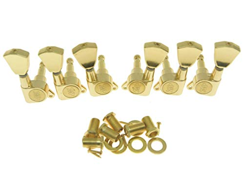 Wilkinson 3L3R Gold E-Z-LOK Post Guitar Tuners EZ Post Guitar Tuning Keys Pegs Machine Heads with Tulip Button for Les Paul or Acoustic Guitar