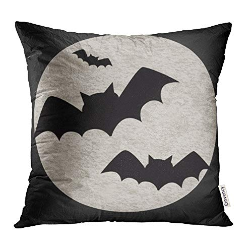 Emvency Decorative Throw Pillow Case Cushion Cover Animal Halloween Featuring Bats and Full Moon Flying to Autumn Back Big Black Clip 20x20 Inch Cases Square Pillowcases Covers Two Sides Print -