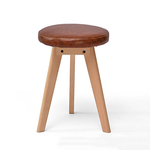 Stool - solid wood stool/fashion stool/fabric makeup stool/home table stool/Nordic small bench/artificial leather stool (two optional) 4540cm (Color : Brown) by StoolStool