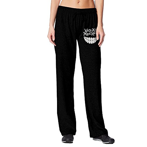 BakeOnion Women's Evil Teeth We're All Mad Here White Jogger Sweatpants XL Black for $<!---->