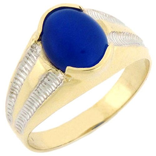 Jewelry Liquidation 10k Solid Yellow Gold Oval Blue Cat Eye Mens Ring
