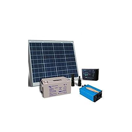 kit solar rifugio base 50w placa solar panel inversor regulador batteria 38Ah