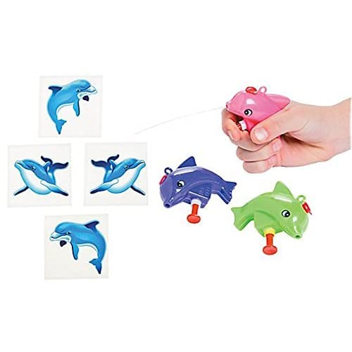 (12 Pc ) Dolphin Squirt Gun and (36 Pc) Tattoo Set- Dolphin Party Favors/goody Bag