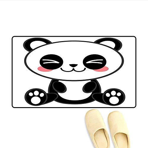 - Bath Mat Cute Cartoon Smiling Panda Fun Animal Theme Japanese Manga Kids Teen Art Print Doormat Outside Black White Gray 20