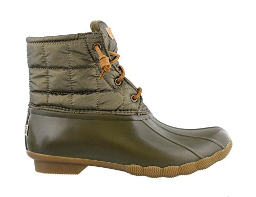 SPERRY Women's, Saltwater Shiny Quilted Rain Boots Olive 5 M by Sperry