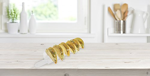 Source One Deluxe Taco Holder Stand Clear Sleek Acrylic Holds 6 Tacos (6 Pack, Clear) by SOURCEONE.ORG (Image #1)