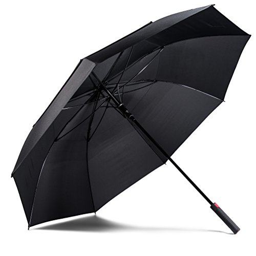 LifeTek Hillcrest Golf Umbrella Windproof Extra Large 62 Inch Automatic Open Big Oversize Double Canopy Vented Wind Resistant Stick Rain Umbrellas for Sports and Sun Black FX2