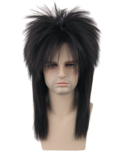 Topcosplay 80s Wig Clothes Fashion Halloween Costume Accessory Punk Metal Rocker Mullet Wig for Men -
