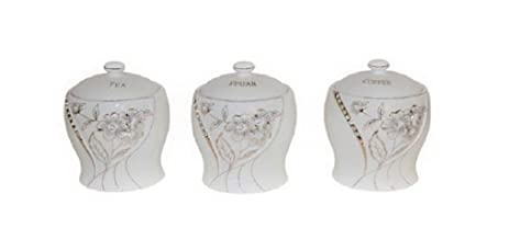 Set Of 3 Air Tight Porcelain Kitchen Storage Containers With Crystal Stones  (Gold)