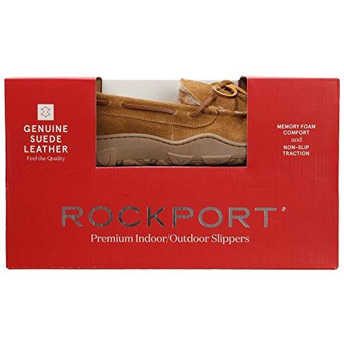 Rockport Mémoire Mousse En Peluche Daim Slip Sur Intérieur / Extérieur Mocassin Chausson Chaussure Cannelle Mocassin