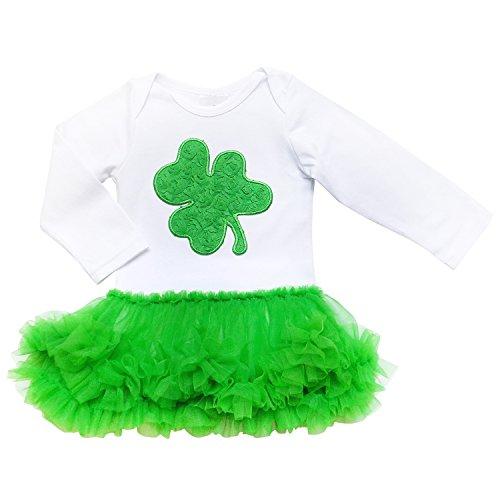 [So Sydney Infant Baby Girls Boys Bodysuit St. Patrick's Day Irish Holiday Romper (X-Large (18-24 Months), Ruffle Green Shamrock with Tutu] (Baby St Patricks Day Clothing)