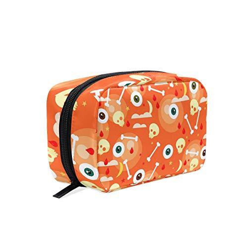 Happy Halloween Orange Eyeball Cosmetic Bag Makeup Case Toiletry Pouch
