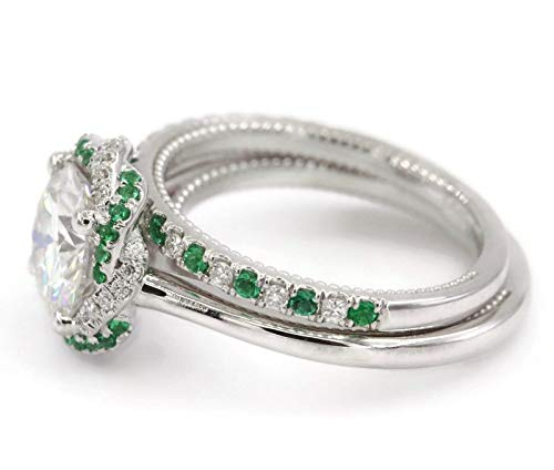 - Emerald Engagement ring with the band, Forever One Moissanite wedding Rings set, 14k White Solid Gold, Braided Halo Ring, Diamond Engagement rings set, bridal set.
