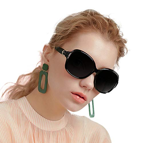 EFE Vintage Oversized Polarized Sunglasses for Women, Retro Style Designer Dark Eyewear with Composite Frame & Case, 100% UV Protection