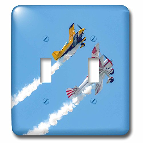 3dRose Danita Delimont - Aircraft - USA, Colorado, Dillon. Biplanes make smoke at air show. - Light Switch Covers - double toggle switch - Dillon Outlets