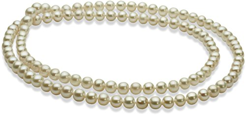PearlsOnly - 30 inches White 6-7mm Freshwater Cultured Pearl Necklace