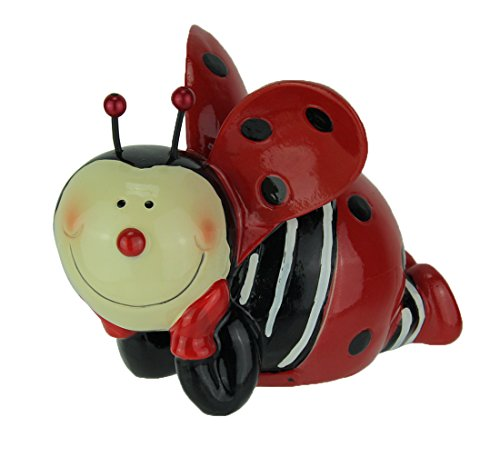 Kingmax Resin Toy Banks Delightful Laying Ladybug Childrens Hand Painted Coin Bank 5.5 X 4.25 X 4.5 Inches Red