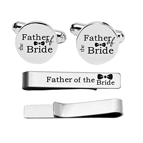 Kooer Custom Personalized Wedding Engraved Cuff Links Tie Clip Set Engrave Wedding Cufflinks Jewelry Gift (Father of the bride -